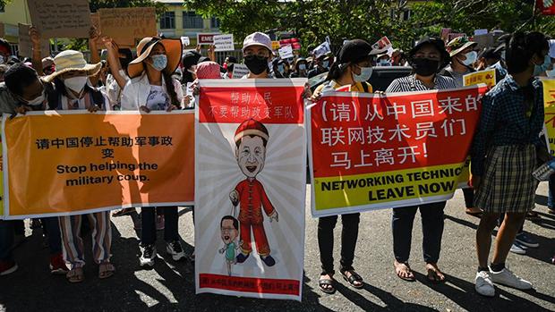 中共支持緬甸軍方政變禍及華人 仰光多家中資企業遭圍攻