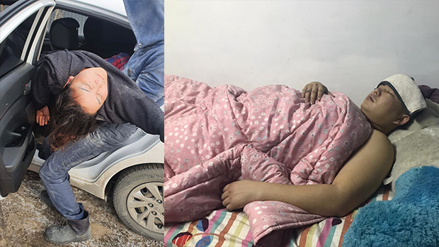 2021年1月21日,喀衣夏(圖左)在阿拉木圖遇襲送院,回家兩日後突然昏迷。在努爾蘇丹市內遇襲的新疆逃亡者木拉格爾‧阿里木(圖右),目前正在家中療傷。(志願者提供)