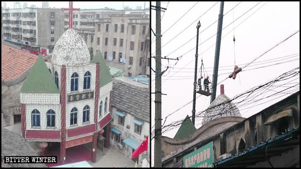 阜陽市鼓樓教堂十字架被拆除。(「寒冬」雜誌圖片)