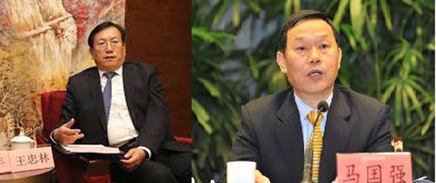 山东济南市委书记王忠林(左)替换马国强(右)任武汉市委书记。(官员资料库 / 拍摄日期不详)