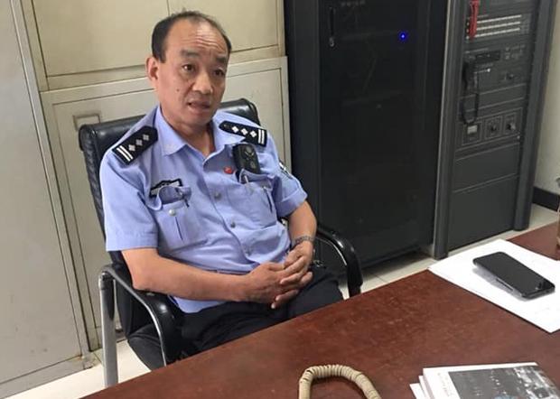 打電話威脅要抓鄭鶴紅的北京市廣安門派出所的警察史某。(知情人提供 / 2018年7月28日)