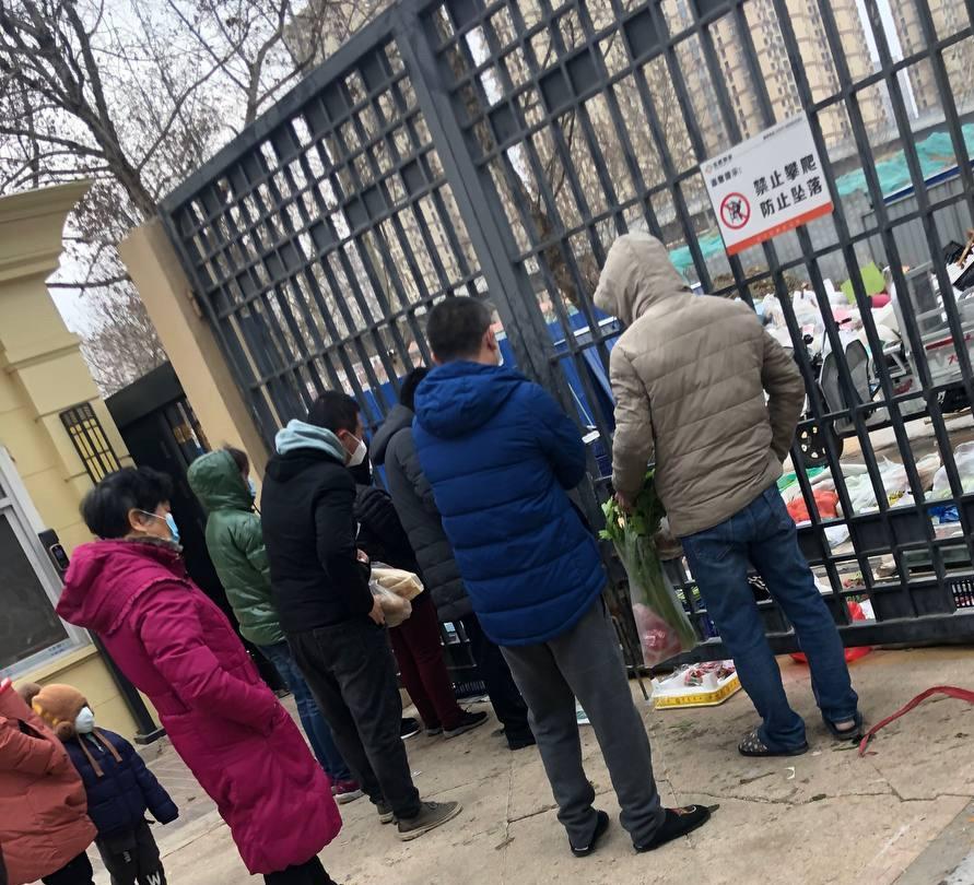 居民須隔著鐵柵欄購買食品。(志願者提供)