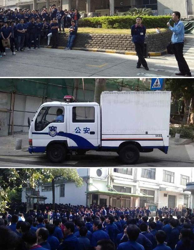 10月31日,深圳盐田先进微电子科技公司过千工人集体罢工,抗议厂方搬迁不赔偿。工人罢工期间,有区政府的官员到场协调。亦有公安车在厂外戒备。(现场人士拍摄)