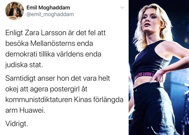 青年基督教领袖人物莫克哈丹姆(Emil Moghaddam)也炮轰拉尔森甘为中共伸向西方长臂的「海报女郎」。(推特图片)