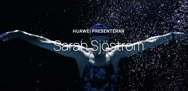 与拉尔森同时华为手机代言的瑞典游泳名将萨拉•舍斯特伦(Sarah Sjostrom)。(华为youtube官方频道视频截图)