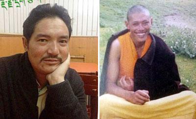 2014年1月,比如縣藏人多吉索達(左)被法院判刑11年。比如縣達木寺僧人格桑確朗(右)亦在1月被法院判刑10年。(西藏人權民主促進中心)