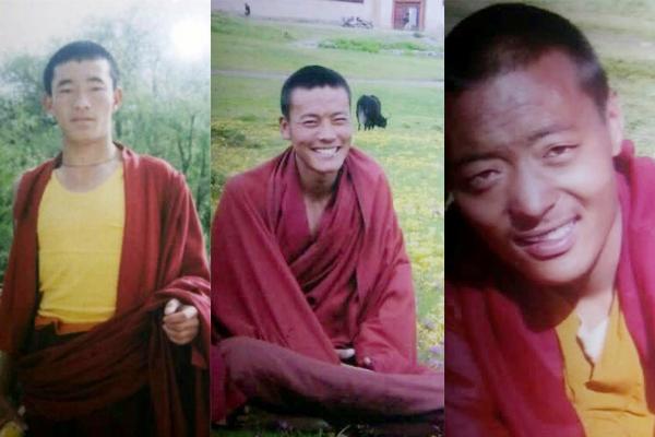 照片来自西藏人权民主促进中心: 捕僧人为26岁的索南南格(Sonam Namgyal) / 29岁的图登加力(Thupten Gelek) / 31岁藏僧洛桑森登(Lobsang Samten),3月10日在甘孜州石渠县城与另两名僧人示威被捕