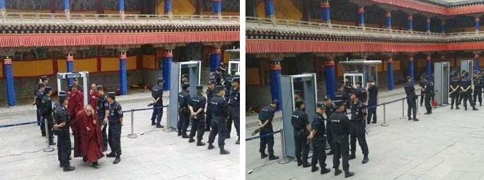 寺院上殿设有三个安检关卡,僧人出入都要被电子仪器检查。大约二十名特警把守三个安检关卡,被网民批评寺院尤如监狱。(照片来自唯色推特)
