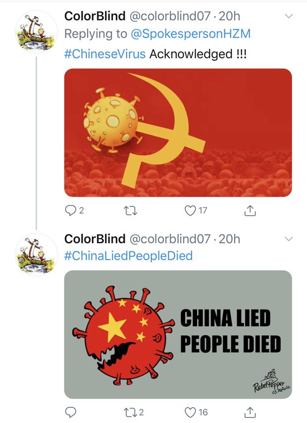 胡兆明宣傳中共「全球抗疫領導者」形象的推文被諷為「縱火犯扮消防員」,網民紛紛上傳嘲諷中共的圖片。(推特截圖)
