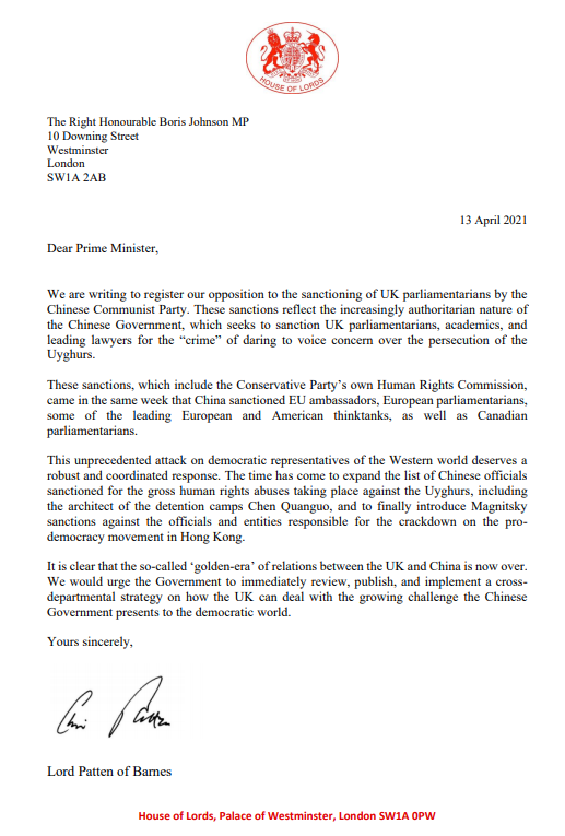 末代港督彭定康勳爵及英國103位跨黨派議員,周二(13日)聯署去信英國首相約翰遜,要求政府引用《馬格尼茨基人權問責法》,制裁打壓香港民主運動及新疆的官員及實體。(Hong Kong Watch圖片)
