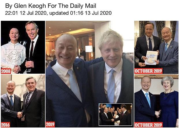 英国《每日邮报》公开胡智荣先后与五位英国首相的合照;但几位首相否认认识胡智荣。(英国《每日邮报》报导截图)