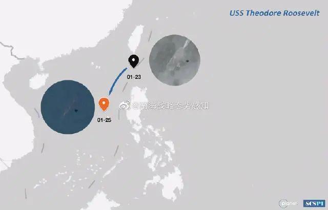 「罗斯福」号核动力航母,周六(23日)进入南海,周一(25日)抵达黄岩岛一带海域 。(南海战略态势感知微博)