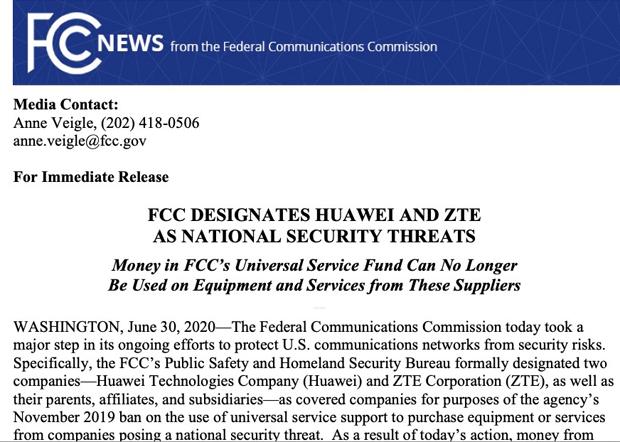 2020年6月30日,美国联邦通信委员会(FCC)认定华为和中兴通讯能美国国家安全构成威胁,并禁止本国运营商使用政府补贴计画资金购买、维护和支援两家中国通信企业的设备和服务等。(FCC官网截图)