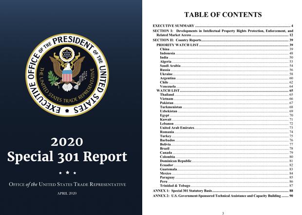2020年4月29日,美国贸易代表办公室(USTR)发布年度「特别301报告」,其中将中国列在10个知识产权「优先监视国」的首位。(美国贸易代表办公室官方推特帐号截图)