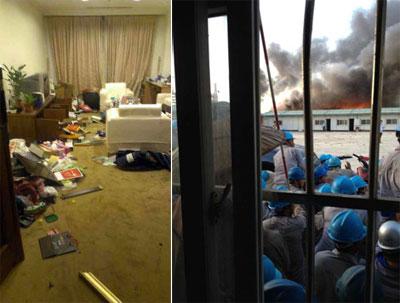 骚乱中,有华人在越南居住的房屋也遭到破坏。而在暴徒纵火时,华人工人躲在一旁。(网友提供)