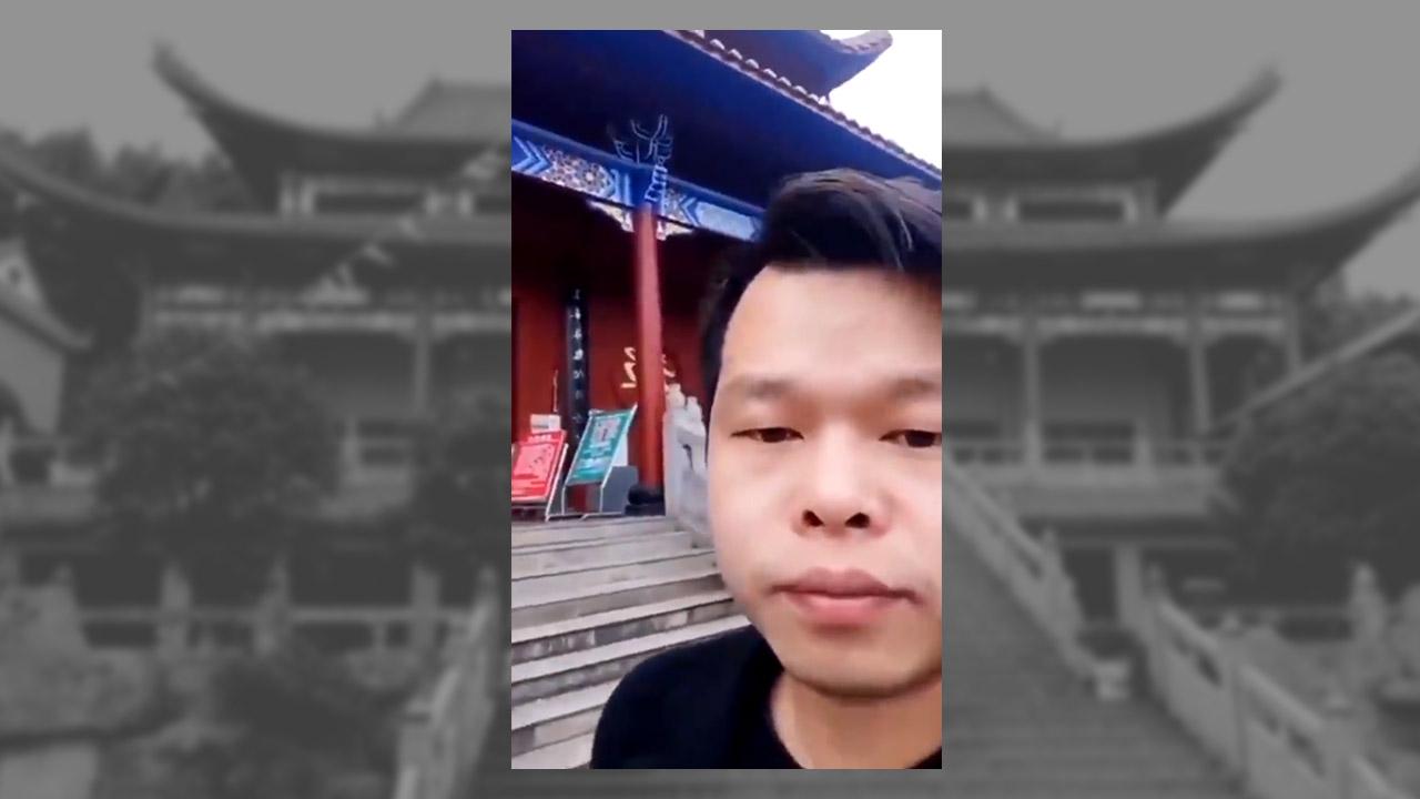 2021年2月8日,湖南郴州龍女寺一位畫工在寺廟服食農藥自殺。(視頻截圖)