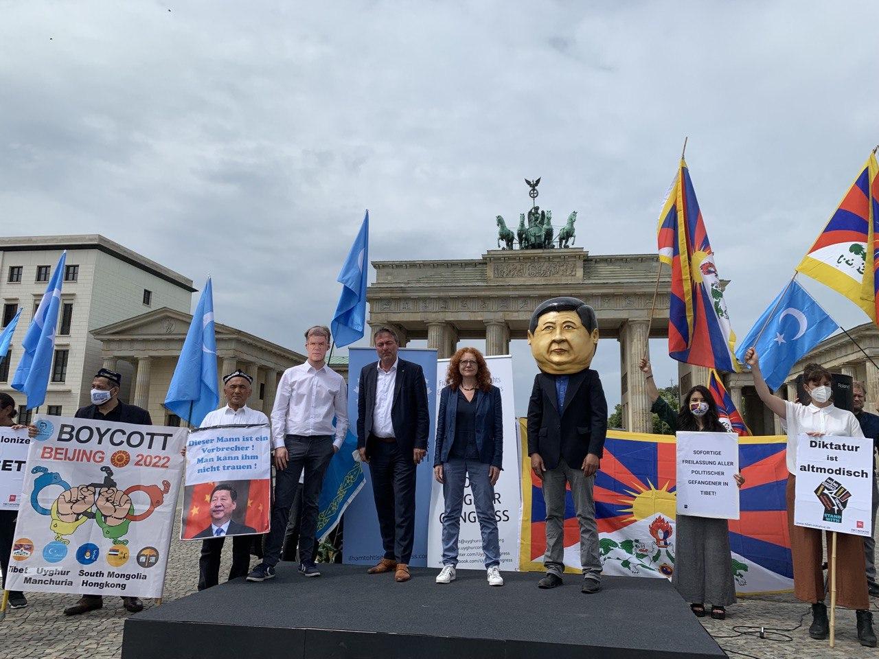 2021年6月23日,全球就中共打压新疆人权、西藏人权发起抵制北京2022冬奥会行动。世维会中国事务部主任伊力夏提呼吁国际社会响应这一行动。(吴亦桐提供)