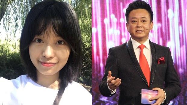 網名為「弦子」的女子(左)在微博公開發文指控中國中央電視台主持人朱軍(右)於2014年正在電視台實習的她性騷擾。(網絡圖片)