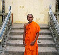 Young Cambodian monk at the pagoda in Thlok village. Photo: RFA/Dan Southerland