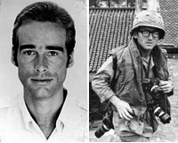 Photographers Sean Flynn (left) and Dana Stone (right) disappeared in Cambodia in April, 1970. Photos: RFA (left), courtesy Pythia Press (right)