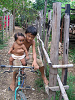 Children play in the village of Prek Sbauv. Photo: RFA<br />