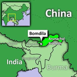 A map displays Bomdila in the Indian state of Arunachal Pradesh.
