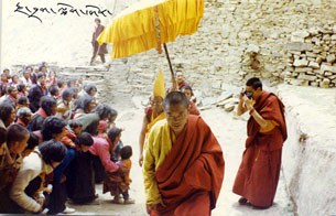 Geshe Sonam Phuntsok with Buddhist devotees in Kardze, 1998.