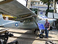 Blogger Dan Southerland with an old U.S. airplane at Saigon's War Remnants Museum. Photo: Dan Southerland © ; RFA