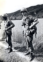 Dan Southerland waits for a helicopter in Vietnam in early 1966. Photo: Dan Southerland.<br />