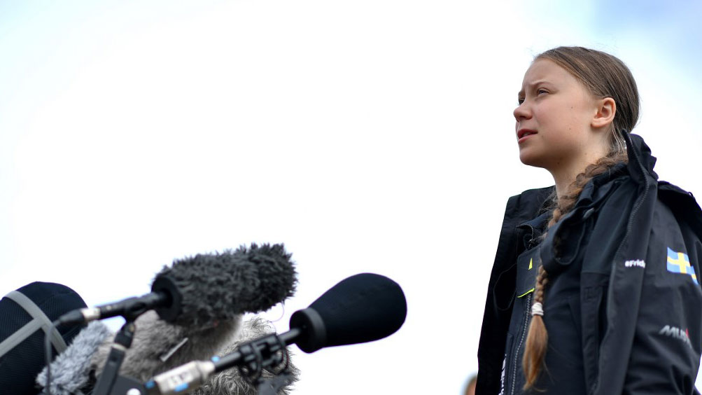 Swedish climate activist Greta Thunberg speaks during a press conference at the Mayflower Marina in Plymouth, southwest England Aug. 14, 2019,