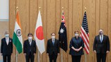 (L-R) India's Foreign Minister Subrahmanyam Jaishankar, Japan's Foreign Minister Toshimitsu Motegi, Japan's Prime Minister Yoshihide Suga, Australia's Foreign Minister Marise Payne and US Secretary of State Mike Pompeo  before a Quad Indo-Pacific meeting at the prime minister's office in Tokyo on October 6, 2020