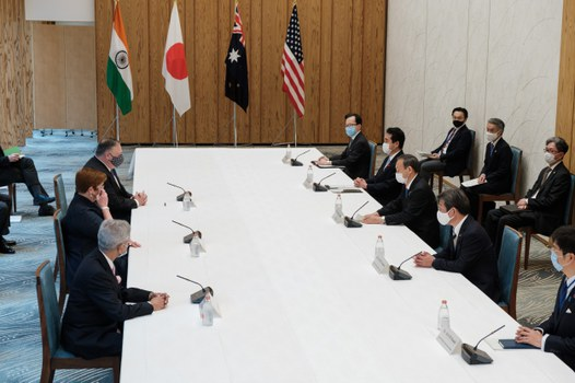 India's Foreign Minister Subrahmanyam Jaishankar (lower L), Japan's Foreign Minister Toshimitsu Motegi (2nd R), Japan's Prime Minister Yoshihide Suga (centre R), Australia's Foreign Minister Marise Payne (centre L) and US Secretary of State Mike Pompeo (top L) attend a Quad Indo-Pacific meeting at the prime minister's office in Tokyo, Oct. 6, 2020.
