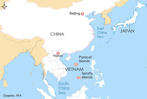 The map shows Vietnam and disputed territories in the South China Sea.