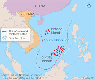 China's territorial claim to the South China Sea includes two disputed island chains.