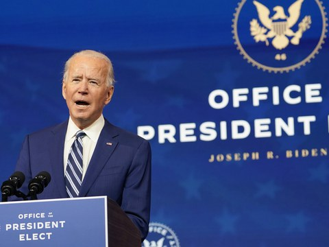 President-elect Joe Biden speaks during an event to announce his choice of retired Army Gen. Lloyd Austin to be secretary of defense, at The Queen theater in Wilmington, Del., Wednesday, Dec. 9, 2020.