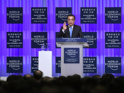 Chinese Premier Li Keqiang calls for international cooperation to reduce market panic and maintain stability amid Britain's decision to leave the European Union at the World Economic Forum in Tianjin, June 27, 2016.