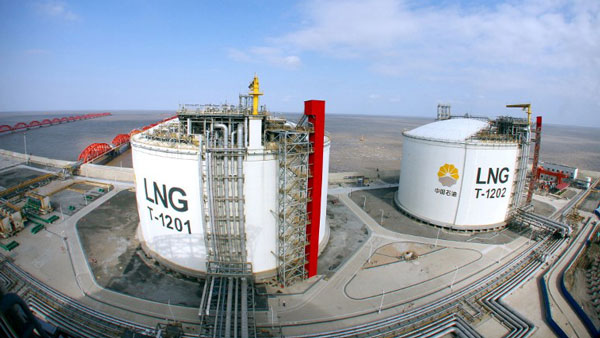 Containers hold liquefied natural gas at Yangkou Port in Nantong, east China's Jiangsu province, Jan. 4, 2014.