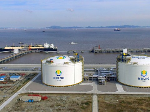 An LNG tanker is seen at Chinese gas distributor ENN's liquefied natural gas import terminal in Zhoushan, eastern China's Zhejiang province, Oct. 19, 2018.