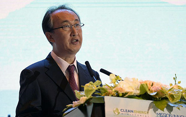 Li Ye, executive director of the General National Energy Administration of China, gives a speech during the Clean Energy Ministerial international forum in Beijing, June 8, 2017.