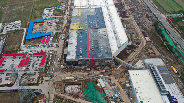 US electric-car manufacturer Tesla Inc. is building its first overseas auto factory in Shanghai, China, to ramp up annual production, July 16, 2019.