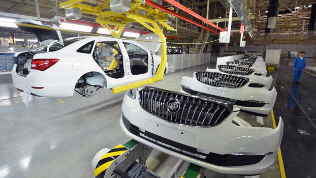 US auto giant General Motors Buick cars are assembled at an auto plant in Wuhan, central China's Hubei province, Jan. 28, 2015.