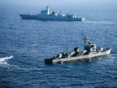 Two ships from China's South Sea Fleet take part in a drill near the Paracel Islands in the South China Sea, May 5, 2016.