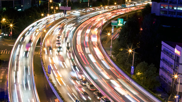 Vehicles drive along a highway in Shanghai, China, Oct. 29, 2016.