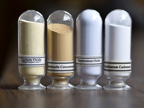 Samples of rare earth minerals from left: Cerium oxide, Bastnaesite, Neodymium oxide and Lanthanum carbonate at Molycorp's Mountain Pass Rare Earth facility in Mountain Pass, California  in a file photo.