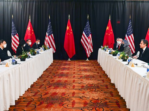 U.S. Secretary of State Antony Blinken (2nd R), joined by National Security Advisor Jake Sullivan (R), speaks while facing Yang Jiechi (2nd L), director of the Central Foreign Affairs Commission Office, and Wang Yi (L), China's State Councilor and Foreign Minister, at the opening session of U.S.-China talks at the Captain Cook Hotel in Anchorage, Alaska, U.S. March 18, 2021.