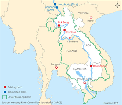 A map shows large-scale dams being developed along the Mekong River by the Lao government.