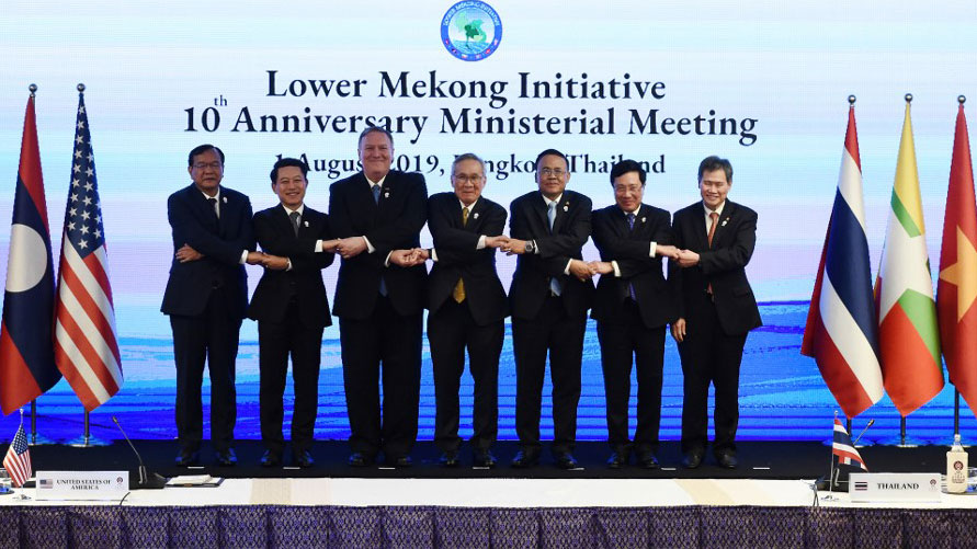 U.S. Secretary of State Mike Pompeo joins Southeast Asian counterparts at a gathering of the Lower Mekong Initiative, in Bangkok, Aug. 1, 2019.