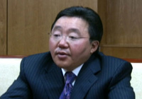 Mongolia's president, Elbegdorj Tsakhia, speaks to RFA on Oct.6 after a signing ceremony.