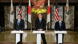 U.S. Deputy Secretary of State Antony Blinken (L), Japanese Vice Foreign Minister Akitaka Saiki (C) and First Vice Minister of Foreign Affairs of South Korea Lim Sung Nam (R) following talks in Tokyo on North Korea's Jan. 6 nuclear test, Jan. 16, 2016.