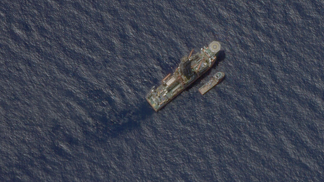 Satellite image of the Malaysian-contracted drillship West Capella in the South China Sea, accompanied by the Executive Stride, a resupply vessel, April 22, 2020.